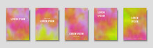 Set Of Cover Templates. Hand Painted Psychedelic Tie Dye Blurred Background. Vector Illustrations
