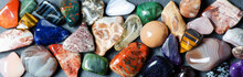 Collection Of Colored Minerals. The Texture Of The Stone.