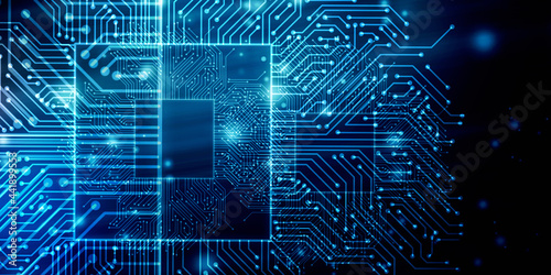 2d illustration Abstract futuristic electronic circuit technology background Fototapet