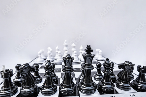 Vászonkép Close-up Of Chess Board Against White Background