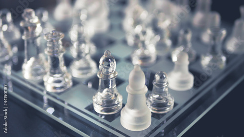 Fotografering High Angle View Of Chess Pieces On Table