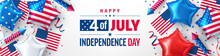 4 Th Of July Poster.USA Independence Day Celebration With American Star Balloon. USA 4th Of July Promotion Advertising Banner Template For Brochures,Poster Or Banner.USA