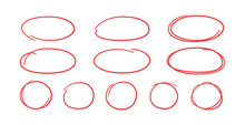 Set Of Hand Drawn Red Circles And Ovals. Highlight Circle Frames. Ellipses In Doodle Style. Vector Illustration Isolated On White Background.