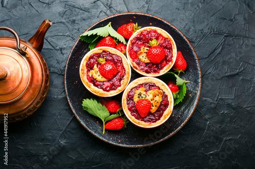 Fototapeta Summer biscuit or shortcake with strawberries