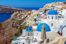 White And Blue Architecture Of Oia Village On Santorini Island, Greece