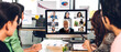 Group of professional asian business meeting and discussing strategy with new startup project.Creative business people video conference online meeting with business colleagues team in modern office