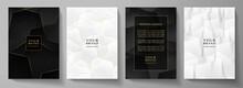 Modern Black Cover, Frame Design Set. Luxury Geometric Pattern In Black, White, Gold Colour. Creative Premium Stripe Vector Background For Business Catalog, Brochure Template, Notebook, Invite