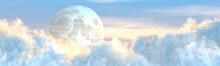 Backdrop - Panoramic Large Cumulus Clouds And Moon - Design Nature 3D Illustration
