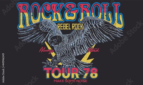 Fotografia Rock and roll tour t shirt print design