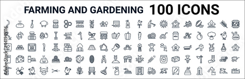 Foto outline set of farming and gardening line icons