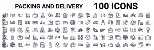 Wallpaper Mural outline set of packing and delivery line icons