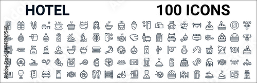 outline set of hotel line icons. linear vector icons such as sauces,hot dog,blanket,minibar,no smoking,extinguisher,eating utensils,beach hotel. vector illustration