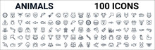 Outline Set Of Animals Line Icons. Linear Vector Icons Such As Lama,bee,panda Bear,mosquito,guinea Pig Heag,walrus,octopus,wasp. Vector Illustration