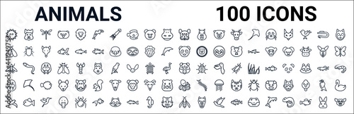 Foto outline set of animals line icons