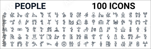 outline set of people line icons Fotobehang