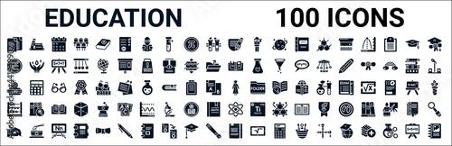 Murais de parede set of 100 glyph education web icons