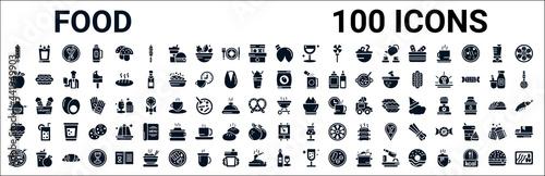 Fotografia set of 100 glyph food web icons
