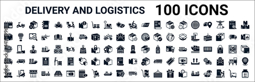 Photo set of 100 glyph delivery and logistics web icons
