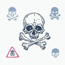 Pirate Skull Emblem Illustration With Crossed Bones.