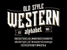 Vintage Label Style Alphabet Design With Uppercase, Lowercase, Numbers And Symbols
