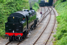 Duffield, Derbyshire, UK, June 22, 2021:Ecclesbourne Valley Railway With Preserved Steam Locomotive 80080 At Duffield Station Shunting In Between Railway Services.