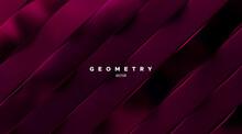 Geometric Minimalist 3d Pattern. Burgundy Red Slanted Ribbons.