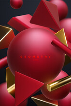 Red And Golden Geometric Shapes Cluster. Abstract Elegant Background.