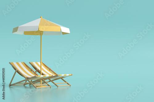 Fotografie, Obraz 3d rendering beach chair and umbrella