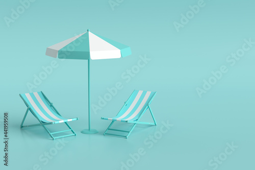 Obraz na plátně 3d rendering beach chair and umbrella