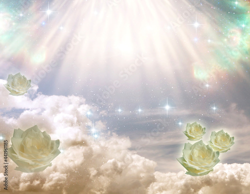 mystical sky with angelic divine rays of Light with white roses like spiritual, Fotobehang