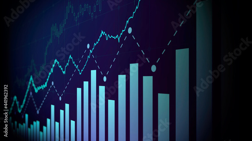 Foto Financial graph with up trend line price chart in stock market on blue color bac