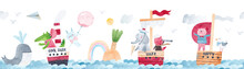 Watercolor Seamless Pattern Sea Landscape, Cute Animals, Waves, Islands, Ships, Clouds And Whales. Watercolor Illustration. Children's Horizontal Poster. Horizontal Repeating Banner.