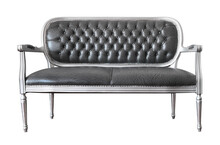 Front View Of Antique Leather Sofa