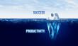 Leinwandbild Motiv Discover your hidden productivity concept with iceberg
