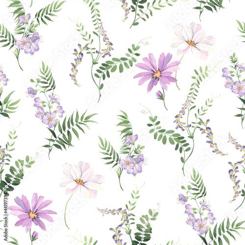 Tapety Prowansalskie  kwiatowy-wzor-dzikich-roslin-zielonych-z-malych-fioletowych-kwiatow-i-kwiatow-kosmosu-delikatny-nadruk-akwarela-na-bialym-tle-ilustracja-botaniczna
