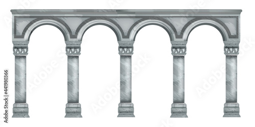 Billede på lærred Vector marble column illustration, roman stone arch, ancient Greek temple pillar isolated on white