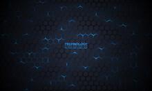 Dark Technology Hexagonal Vector Background. Abstract Blue Bright Energy Flashes Under Hexagon In Dark Technology Modern Futuristic Background Vector Illustration. Dark Gray Honeycomb Texture Grid.