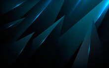 Abstract Black Taper Shape Dimension Background  With Blue Light