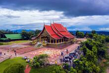 Wat Sirindhorn Wararam Temple (wat Phu Prao) Travel Religion Place Aerial View Of Ubon Ratchathani, Thailand.