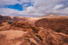 Petra Jordan, View From The Top From The Desert Mountains And The Tea House To The Famous Street Of The Facades