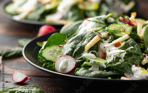 Fotografie, Obraz Fresh cucumber radish apple salad with spinach, dill and yogurt dressing