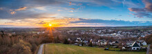 Sunset, Aerial View Over Forests And Meadows Of Westerwald, Altenkirchen, Germany