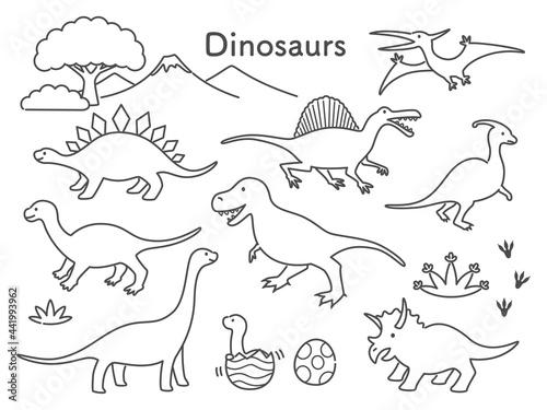 Fotografia simple line illustration of dinosaurs