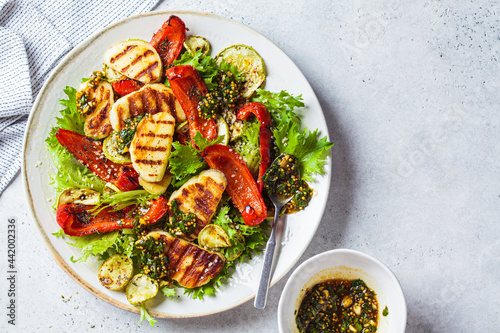 Fotografie, Obraz Grilled halloumi salad with baked vegetables and mustard dressing