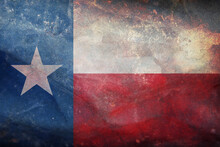 Top View Of Retro Flag Of Texas With Grunge Texture. Flag Background