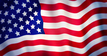 Closeup American Flag. Rippled American Flag For USA Independence Day.
