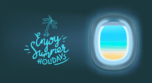 Vector Banner With Airplane Empty Window And Lettering Inscription