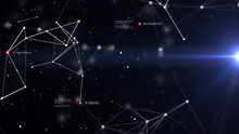 Connected Nodes - Some Of Them With Red Outlines On Dark Background With A Light Stream From Right