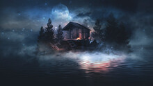 Night Fantasy Landscape With Abstract Mountains And Island On The Water, Wooden House On The Shore, Moonlight, Fog, Night Lamp. 3D
