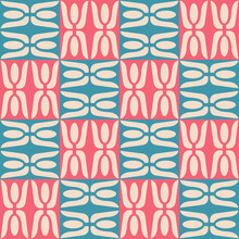 Seamless Pattern Pink And Blue Tile Abstract Vector Background